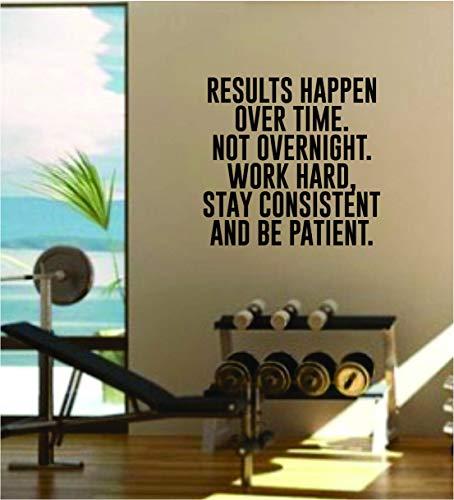 CECILIAPATER Results Happen Over Time Gym Quote Fitness Health Work Out calcomanía de vinilo para pared, decoración de pared, pesos, motivación, inspiración