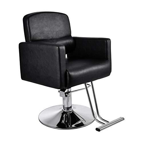 Silla de peluquería de piel, altura regulable, asiento acolchado con reposabrazos y...