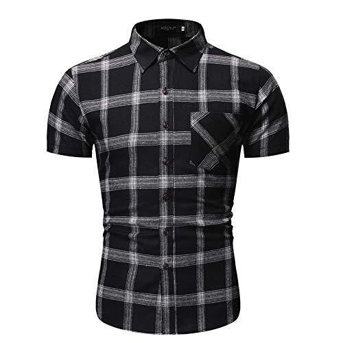 Herren Casual Schwarz Grau Hemden Pliad Shirt Top Fit Slim Bluse Business Casual Kurzarm Klassisch Spitzkragen Hemd Größe:S-2XL XL Schwarz