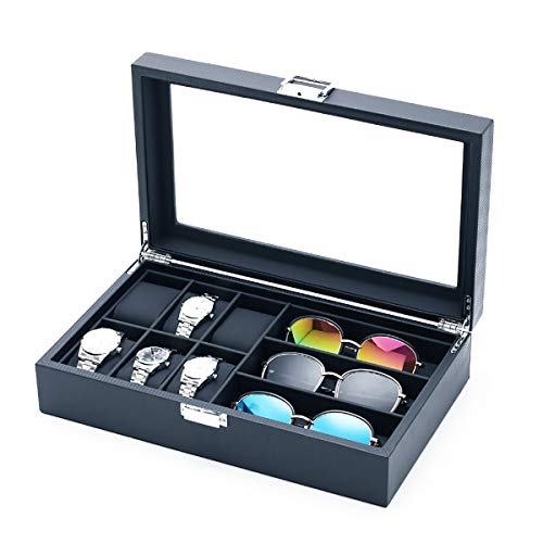 MQFORU Uhrenbox für Brillen, Sonnenbrillen, Organizer mit Glasoberseite, für Herren/Damen, Karbonfaser, Uhrenhalter, Schmuckbox, 6 Fächer für Uhren, 3 Fächer für Brillensammlung (schwarz)