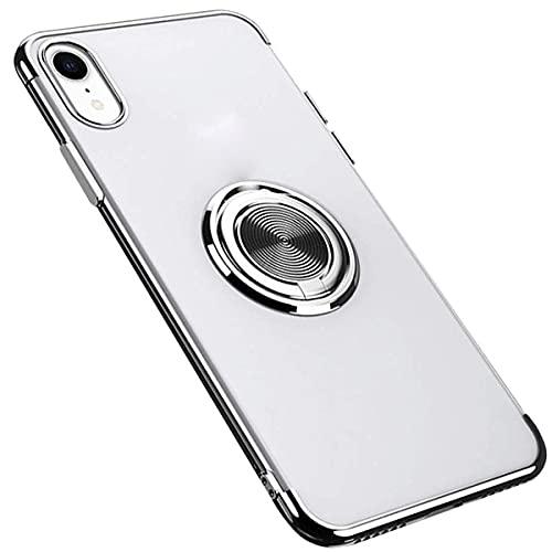 Fulidy Funda para iPhone X, Funda para iPhone XR, Funda para iPhone XS MAX TPU Slim fit con Soporte para Anillo Funda de Metal Brillante de 360 ° (iPhone X/XS, Plata-1)