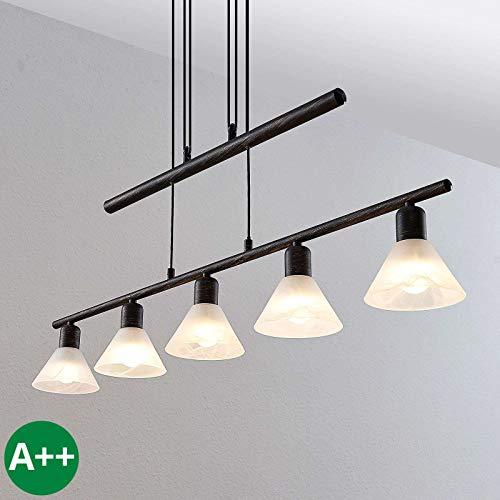 Lindby Pendelleuchte \'Delira\' dimmbar (Landhaus, Vintage, Rustikal) in Schwarz aus Metall u.a. für Wohnzimmer & Esszimmer (5 flammig, E14, A++) - Deckenlampe, Esstischlampe, Hängelampe, Hängeleuchte