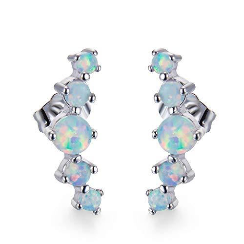 Stud Earring Five Round Opal Studs Pendant Earrings Jewelry Gifts for Women Girls (White)