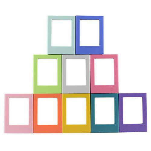 ENJOY-UNIQUE Mini-Bilderrahmen, magnetisch, bunt, 7,6 cm, für Fujifilm Instax Mini 8/8+, Mini 9, Fotoalbum, Kühlschrankaufkleber, 10 Stück