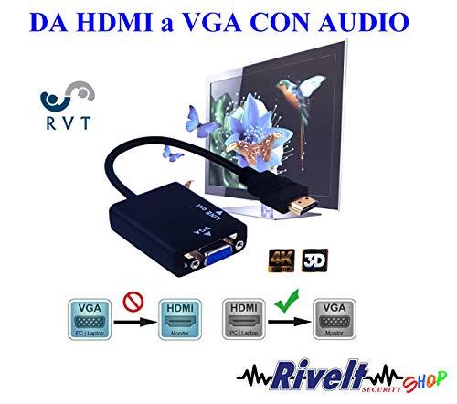 RVT Convertidor Adaptador de HDMI Entrada Macho VGA Salida Audio