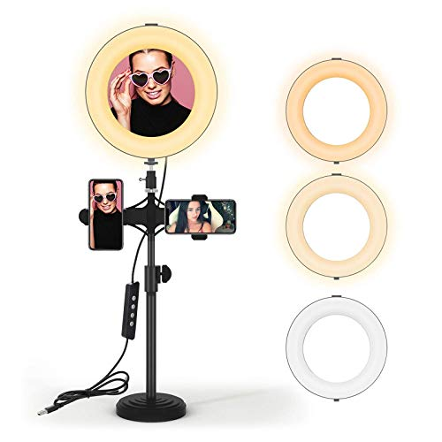 JIM'S STORE Ring Licht Led Ringlicht mit Handyhalter Selfie Licht Handy Licht Ring Lights Beauty Light Ringlicht Schreibtisch YouTube Equipment Ringlicht Schreibtisch