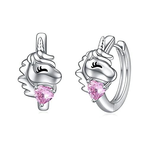 VONALA Pendientes de aro de plata de ley 925 con circonita cúbica rosa, regalo para mujeres y niñas