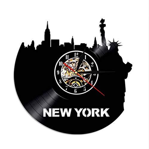Djkaa 1 Pièce New York Skyline Vinyle Horloge Murale LP Record Heure Horloge NY Ville Visites Vintage Mur Art Horloge avec éclairage(12inch)