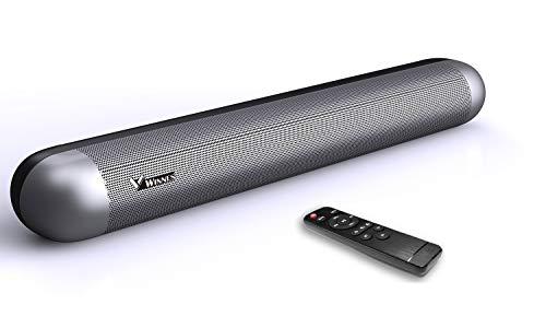 Soundbar 2.0 Canali, Bluetooth 5.0 Wireless Barre Audio Sottili, 105 Decibel, Suono Avvolgente 3D, Ottico Ausiliario USB, DSP Integrato, Controllo Remoto, Montaggio a Parete