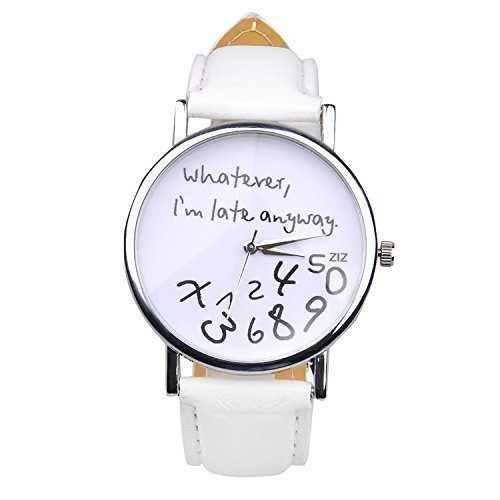 5Fünf Whatever, I 'm late anyway weiblich Fashion Analog Digital Quarz Geburtstag Geschenke Kunstleder Armbanduhr weiß