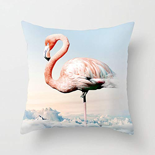 LIFEIstb Fundas para Cojines,Almohada Cojín Tapas De Almohadón Cuadrado Cute Animal Print Pink Flamingo Sky Decorativo para Sofás Camas Sillas Funda De Cojín De 18 X 18 Pulgadas