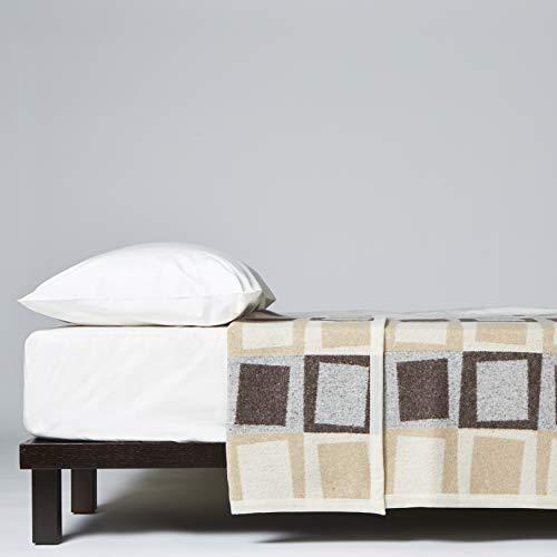 LANEROSSI - Manta para Cama de Matrimonio de Acero, Mezcla de Lana, 210 x 250 cm, Camello
