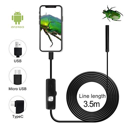 QiCheng&LYS USB Android Endoskop 2,0 Megapixel CMOS HD 2 in 1 wasserdichte Endoskop Inspektionskamera Starre Schlangenkabel für Smartphone Tablet-Gerät (3.5m)