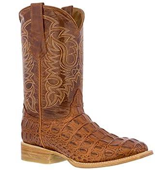Mens Cognac Western Cowboy Boots Alligator Tail Print Leather Square Toe 9 D M  US