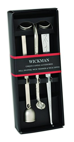WICKMAN Candle Accessory Gift Pack - Set of 3 - Wick Trimmer, Wick Dipper & Bell Snuffer