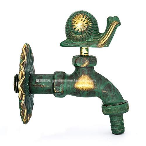 iBalody - Grifo monomando para jardín (latón envejecido, antióxido, antigoteo, a prueba de fugas, estilo vintage, conector rápido, válvula de mezcla exterior de 1/2 pulgada), color bronce