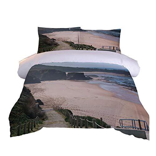 Juego de Funda nórdica para Cama 200x200cm patrón de Playa Junto al mar Juego de edredón con Impresión 3D Juego de Cama +2 Fundas de Almohada