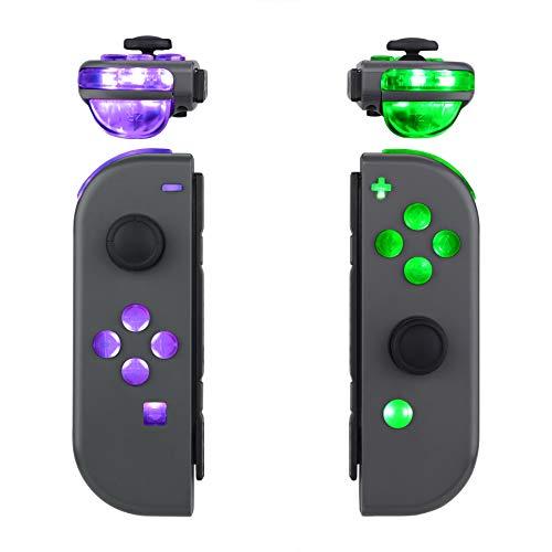 eXtremeRate DFS LED Botones Kit para Nintendo Switch Teclas de 7 Colores 9 Modos Control NS Joycon Botón de ABXY Gatillos...