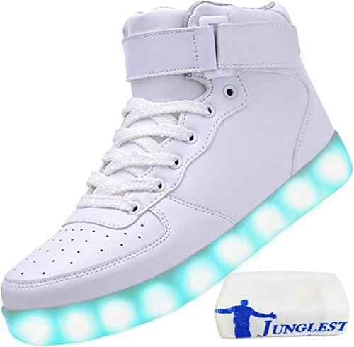 JUNGLEST (Present:kleines Handtuch) Weiß EU 39, USB Sneakers Flash LED-Licht Mode Color Unisex Changing Men Sport Sneakers Luminous Couple Chargi