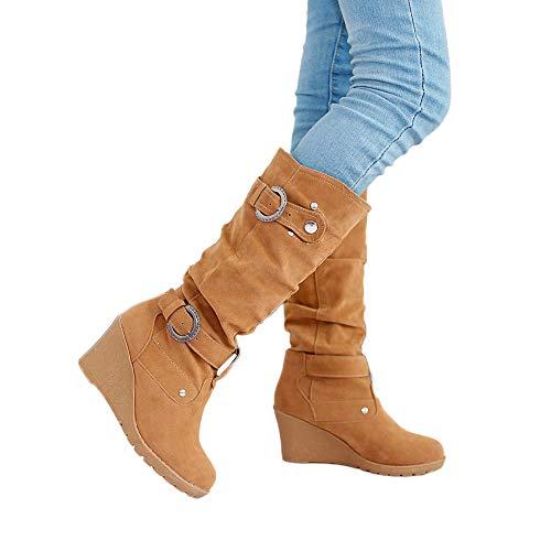 JUTOO Frauen Winter Flache Schuhe Runde Zehe verdichten Wedges Damen Lange Tube Martin Stiefel(Gelb,41 EU)