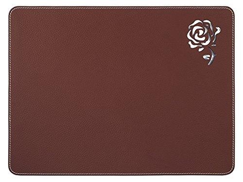 Nikalaz 2 Set de Table, Rectangle, Rouge, en Cuir Naturel Recyclé, Stylisée avec une Rose au Laser, 40 x 30 cm (Bordeaux Foncé)