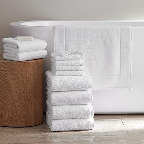 H by Frette Simple Border H Bath Bundle - Luxury All-White Bath Linens Bundle / Includes 4 Wash Cloths, 2 Hand Towels, 4 Bath Towels, and Bath Mat / 100% Cotton