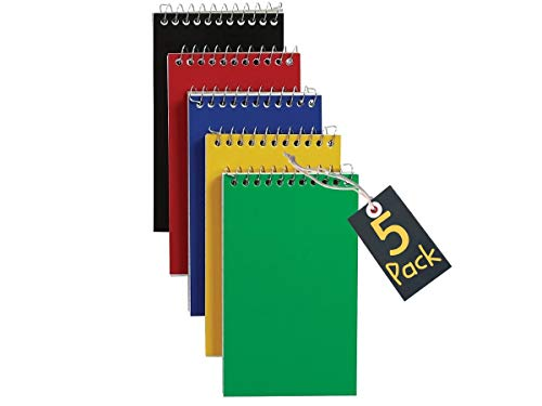 """1InTheOffice Wirebound Spiral Memo Books, Memo Pads, 3"""" x 5"""", College Ruled, Small Notepad 3x5, Assorted, 75 Sheets/Pad, 5 Pads/Pack (5)"""