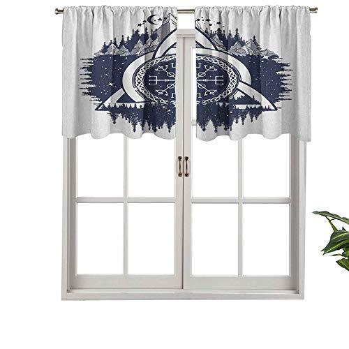 Hiiiman Cenefas de cortina con bolsillo para barra de cortina, nudo celta con tridentes, bosque, montañas, cultura escandinava, juego de 2, paneles cortos de 106,7 x 91,4 cm para ventana de cocina