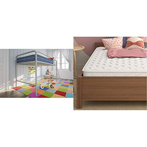 DHP Junior Loft Bed Frame with Ladder, Silver with Signature Sleep 6' Hybrid Coil Mattress, Twin, White