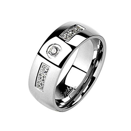 Paula & Fritz® Ring aus Edelstahl Chirurgenstahl 316L Silber 8mm breit mit EIN.