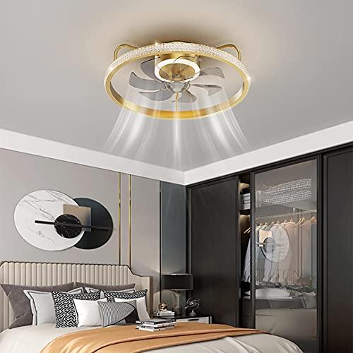 LED Reversible Ventilador Techo Con Luz Y Mando, 6 Velocidades Dormitorio Regulable Lamparas Ventilador De Techo Con Temporizador Φ50cm Ultradelgado Silencioso Ventilador Techo Con Luz,Oro