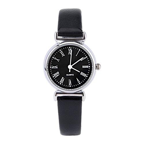 Reloj de pulsera para mujer, exquisito vestido de moda simple, reloj retro de piel, mini reloj de pulsera (Black Dial)