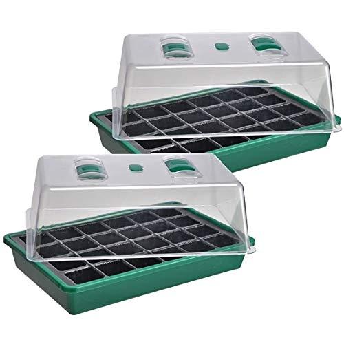 marion10020 Mini Gewächshaus Zimmergewächshaus Treibhaus Anzucht Frühbeet Anzuchtkasten, grün/transparent, 2er-Set