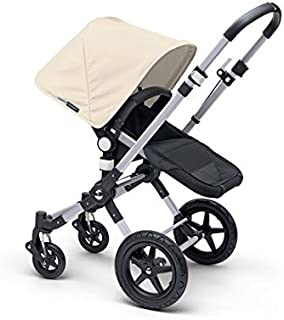 Bugaboo Cameleon3 Stroller Bundle, Aluminum Base/Dark Grey Seat with Off White Tailored Fabric Set