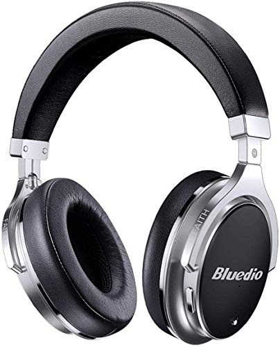 Bluedio High-End Bluetooth Headphones Active Noise Cancelling, 3D Sound Effect /180° Rotation/ANC/Wireless&Wired Over Ear Headphones with Carrying Case/Gift-Package (Black and Silver)