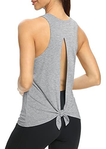 Mippo Open Back Tank Tops Tennis Shirts Backless Yoga Tank Tops Gym Shirts Sleeveless Workout Tops Muscle Shirts Workout Clothes Soft and Comfy Summer Tops for Women Heather Gray L