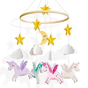 Basumee Baby Crib Mobile,Unicorn Crib Mobile Hanger Handmade Mobile Nursery Decor Movable Star Cloud Baby Mobile Felt Hanging Accessory for Baby Room