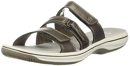 Clarks Women's Brinkley Coast Slide Sandal, pewter synthetic, 9 M US
