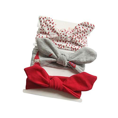 COUXILY COUXILY 3 Stück Baby Mädchen Stirnband 100% Baumwolle Haarband mit Bogen für 0-24 Monaten (B01)