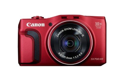 Canon PowerShot SX700 Digitalkamera (16,1 MP, 30-Fach Opt. Zoom, 7,5cm (3 Zoll) LCD-Display, NFC, Full HD) rot