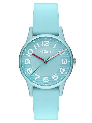 s.Oliver Damen Analog Quarz Uhr mit Silikon Armband SO-3517-PQ