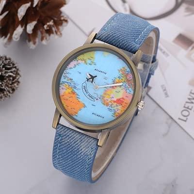 Relojes de pulsera 1 unids Ladies Tendencia Relojes de pulsera Moda Global Viajes en avión Mapa Dial Analog Reloj Mujer Vestido Vestido Reloj de tela de mezclilla Banda de tela regalo ( Color : Blue )