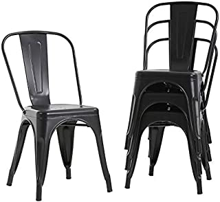 Metal Dining Chairs Set of 4 Indoor Outdoor Chairs Patio...