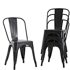 ✔【SELECT HIGH QUALITY MATERIALS】: Lightweight, comfortable and the Industrial design make this metal chair stand out functionally and visually for the restaurant or home, make the stackable chairs adding a sense of authenticity and comfort. stackable...