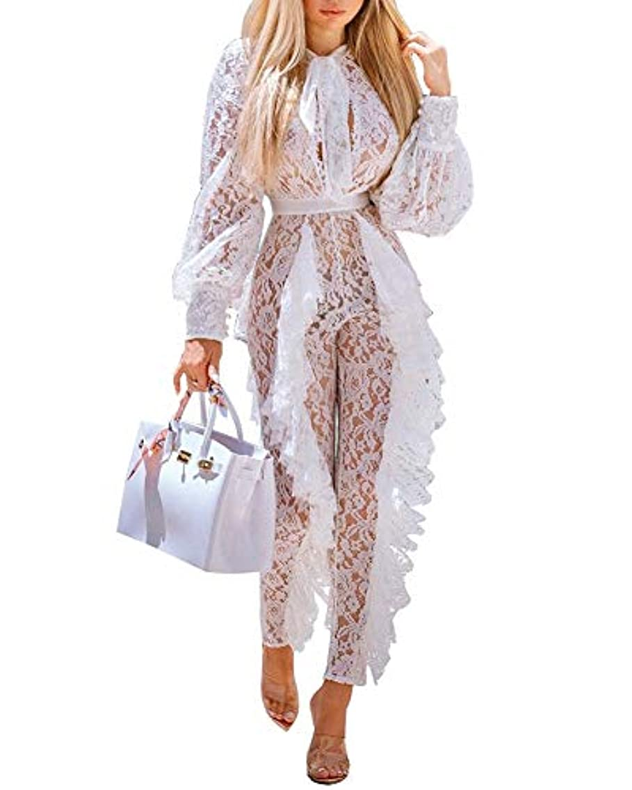 Womens Elegant Mesh Lace Jumpsuits - Bodycon Floral Sheer Ruffle Sexy See Through Long Sleeve and Pants One Piece Rompers