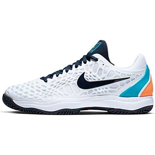 Nike Air Zoom Cage 3 HC, Scarpe da Tennis Uomo, Multicolore (White/Obsidian/Light Carbon/Lt Blue Fury 000), 47 EU