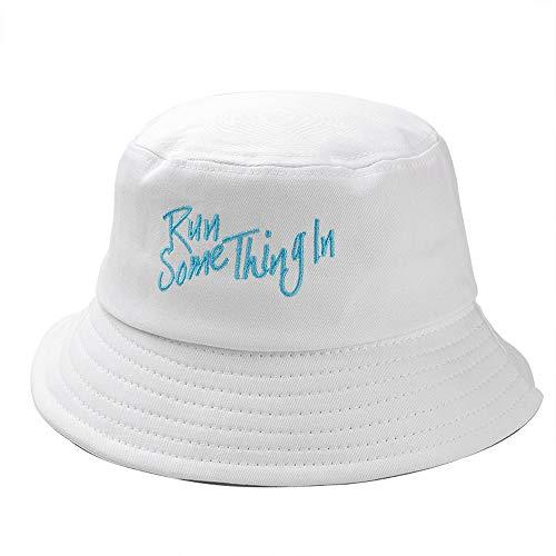 Vinteen Sombrero Cuenca del algodón de mezclilla de la vendimia Sombrero del verano protector solar Pescador sombrero femenino al aire libre ocasional del color sólido de la sombrilla del ribete del s