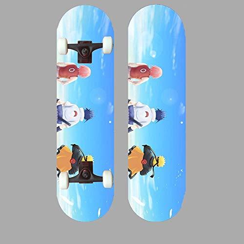 Xlyasky Anime Naruto/Uzumaki Naruto Skateboard Skateboard Principiantes Cuatro Ruedas Doble Tilt Maple Tablón Tablero Adecuado Diseño de Moda Monopatín de Madera con rodamientos de aleación de PVC y