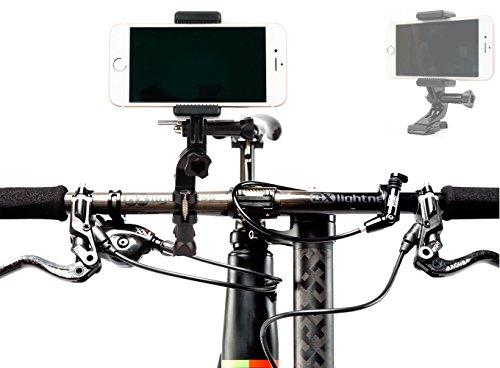 Adaptador de Smartphone para accesorios de GoPro y cámaras deportivas + Soporte para Manillar de Bicicleta para Smartphone HTC Desire 530 / 630 / 825 / One X9 / 10 / ZTE Avid Plus / Grand X3 / Blade V7 / Lite - DURAGADGET