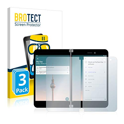 BROTECT Panzerglas Schutzfolie kompatibel mit Microsoft Surface Duo (3 Stück) - 9H Extrem Kratzfest, Anti-Fingerprint, Ultra-Transparent